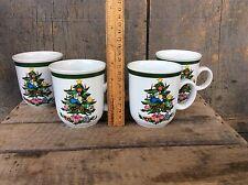 Vintage Set Of 4 Stoneware Coffee Cocoa Mugs / Cup  Christmas Tree Theme