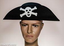 Pirate Hat Dxl. Black Felt Low Bicorn  With Felt Skull & Cross Bones Applique MD