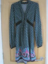 Women's NEXT black/green floral print  shift dress size 10.
