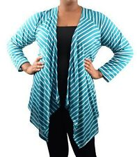 Stripe Long Sleeve Asymmetrical Drape Front Cardigan/Cover-Up Plus * 8 Colors *