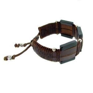 leather chunky brown/Onyx gem stone wristband bracelet - adjustable size