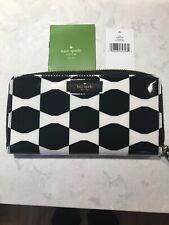 Kate Spade Lacey Bow Tie Wallet Zip Around - Black/Cream NWT
