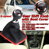 6 Speed Gear Shift Knob & Boot For Volkswagen Jetta Mk4 Golf / GTI / R32  AL!