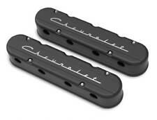 "Holley 241-177 2-Pc LS ""Chevrolet"" Script Valve Covers – Black  Finish"
