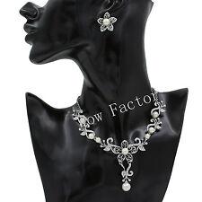 White Pearl Flower Bridal Wedding Necklace Jewellery Set with Swarovski Crystals