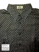 GIANNI VERSACE VINTAGE '95 GRID CHECK SHIRT MEN MEDUSA BLACK GREY ITALY WIDE