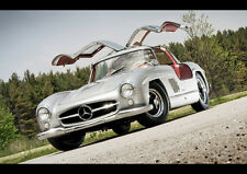 BEAUTIFUL OLD MERCEDES 300SL NEW A2 CANVAS GICLEE ART PRINT POSTER FRAMED