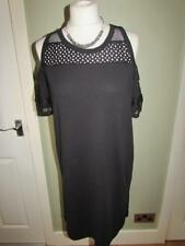 RIVER ISLAND Ladies Black Cold Shoulder Tunic Dress Mesh Trim Size 10 BNWT *NEW*