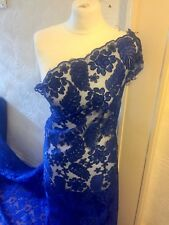 """1 MTR ROYAL BLUE SCALLOPED BRIDAL EMBROIDED LACE NET FABRIC...58"""" WIDE"""