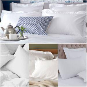 Luxury 100% Egyptian Cotton 200 TC White Hotel Quality Pillowcases Pair Pack