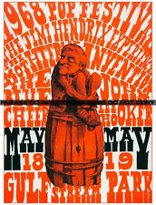 "JIMI HENDRIX - Red Man on a Barrel Day-Glo Concert Poster. Poster 11""x14"""