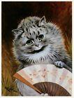 Louis Wain print GREY PERSIAN CAT WITH FAN funny cat illustration art