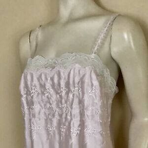 Miss Dior CHRISTIAN DIOR Nightgown Vintage Embroidered Lace Satin Pink Large