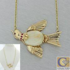 1940s Antique Art Deco Vintage Estate 14k Gold Opal Bird Pendant Chain Necklace