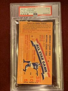 Psa 3 1943 All Star Ticket Stan Musial Debut St Louis Cardinals