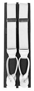 Men's White Suspenders with Leather Strips Adjustable Button On Free Shipping