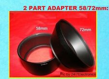 2 Part LENS ADAPTER 58/72mm AptTo CAMERA FUJI FINEPIX S1600 S1700 S1730 S1770