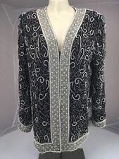 Vintage Laurence Kazar SILK Beaded Jacket Cardigan SEQUIN Pearl Bling Black L