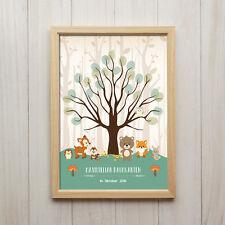 Personalisiertes Bild Baby Geburtstag Wald Tiere Kunstdruck A4 Kinderzimmer Deko