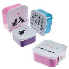 GATTO Nero Set di 3 scatole Pranzo Scuola Ufficio Viaggio Cibo Container di immagazzinamento LBOX13