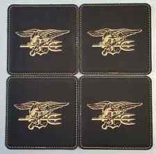 Naval Special Warfare Dev Group Seal Team 6 ST6 Trident 4 Black Leather Coasters