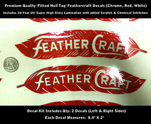 """Feathercraft Feather Craft Boat Hull Tag Decal Kit 2pcs 8.4"""" X 2"""" Laminated 0138"""