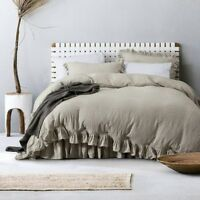 100% Pure Linen 2 Piece Pillow Shams with Ruffles