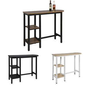 Bar Table Breakfast Kitchen Dining Coffee Table with 2 Shelves Bistro Table MDF