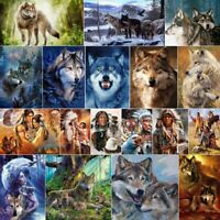 DIY 5D Full Drill Diamond Painting Kits Wolf Rhinestones Embroidery Picture Art