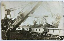 1913 NY RPPC Postcard Construction machinery Crane loading Lathrop & Shea cars