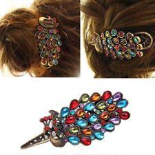 Vintage Retro Crystal Jewelry Peacock Horquilla Clip Bronce