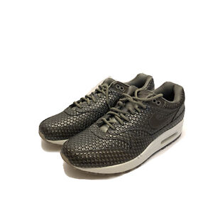 Nike Air Max 1 Reptile Metallic Grey Pewter Run Shoes 454746-015 Womens Size 11