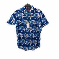 Robert Graham Mens 3XL Classic Blue Floral Short Sleeve Button Front Shirt NEW