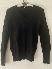 HALOGEN black 100% Cashmere Long Sleeve V-neck Pullover Sweater XS