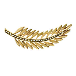 Vintage 14K Yellow Gold Seed Pearl Brushed Finish Long Feather Leaf Brooch Pin