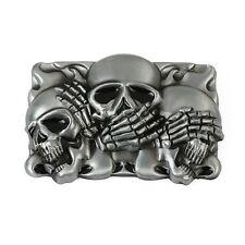 Gürtelschnalle Buckle 3D Three Skulls Biker MC Totenkopf Skull Reaper (G3)