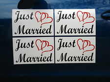 """(4) JUST MARRIED CAR MAGNETIC SIGNS 8""""X12"""" (2 Color) w/ Hearts FREE SHIP Wedding"""