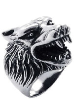 Jewelry Men's Ring Stainless Steel Gothic Wolf Head Black + Silver 12 Size C5L8