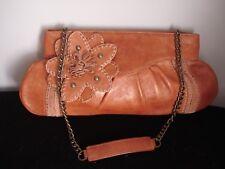 Tommy Bahana....Brown Leather / Crochet / Flower...Handbag / Chain Handle