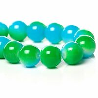 Green And Aqua Wholesale 10mm Round Glass Beads G6698 - 50, 100 Or 200PCs