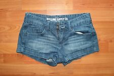 Mossimo Supply Co Juniors Denim Shorts Zip Fly Double Button Hemmed Size 7