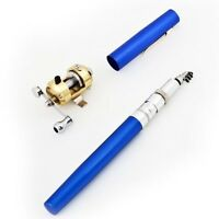 Mini Portable Pocket Fish Pen Aluminum Alloy Fishing Rod Pole Reel Combos Blue