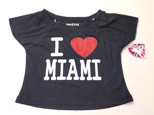 Surf Style I Love Heart Miami Black Crop Top Shirt Girls Youth Size Medium