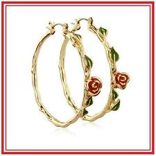 DISNEY COUTURE BEAUTY & THE 14KT GP BELLE'S ROSE/VINE HOOP EARRINGS**SOLD-OUT!!!