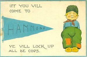 "Hammond,IN.Dutch Boy Pennant Greeting,""Iff you vill come to Hammond ve vill... """