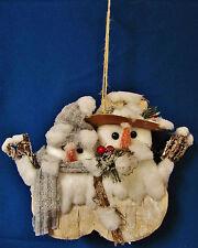 MR & MRS BIRCH SNOWMAN COUPLE HANGING DECOR CHRISTMAS DOOR HANGER WEDDING
