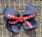 Personalized Embroidered Engraved Bottle Cap Navy Star Patriotic Girl Hair Bow