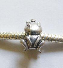 1 Tiny Metal Dark Antique Silver Colour Frog Charm Bead - For Charm Bracelet