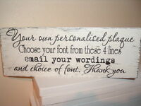 shabby vintage chic your own personalised any word plaque distressed 12x4