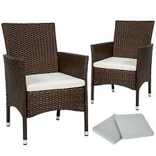 2x Chaise de jardin poly rotin résine tressé fauteuil muebles + coussins